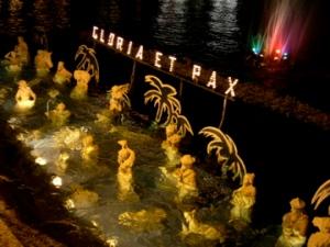 Manger scene semi-submerged in Lago Maggiore