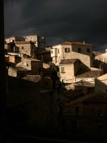 Caulonia under stomy skies.